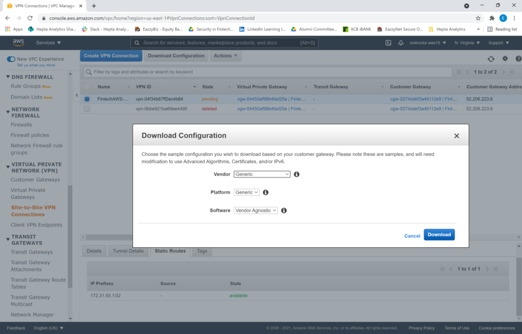 Download AWS Site to site VPN configuration